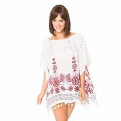 Pareo camisola de playa para poner sobre el bikini y crear la ilusion de curvas perfectas, genial para verano y vacaciones, e ideal para regalos. (Blanco con flor rojo)