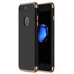 Funda iPhone 7 Plus, RANVOO 3 en 1 Anti-Scratch Anti-huella dactilar a prueba de choque Marco Electroplate con superficie antideslizante cubierta Excelente agarre el caso para el iPhone 7 Plus, Negro mate [logo out]